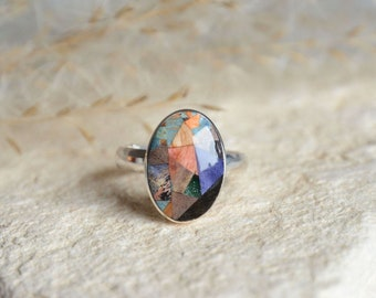 Unique oval gem mosaic ring, colorful wood mosaic and silver jewelry, one of a kind multicolor statement gem ring, wood and silver ring