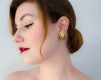 vintage statement earrings / large spiky gold earrings with pearls