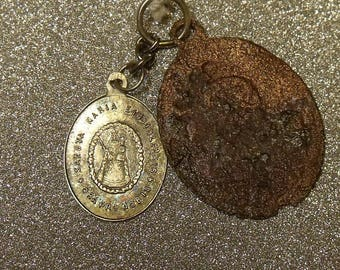 Copper Medal • Solid Sterling Silver Antique Holy Medal • Not A Reproduction • Maria EINSIEDLEN • B299