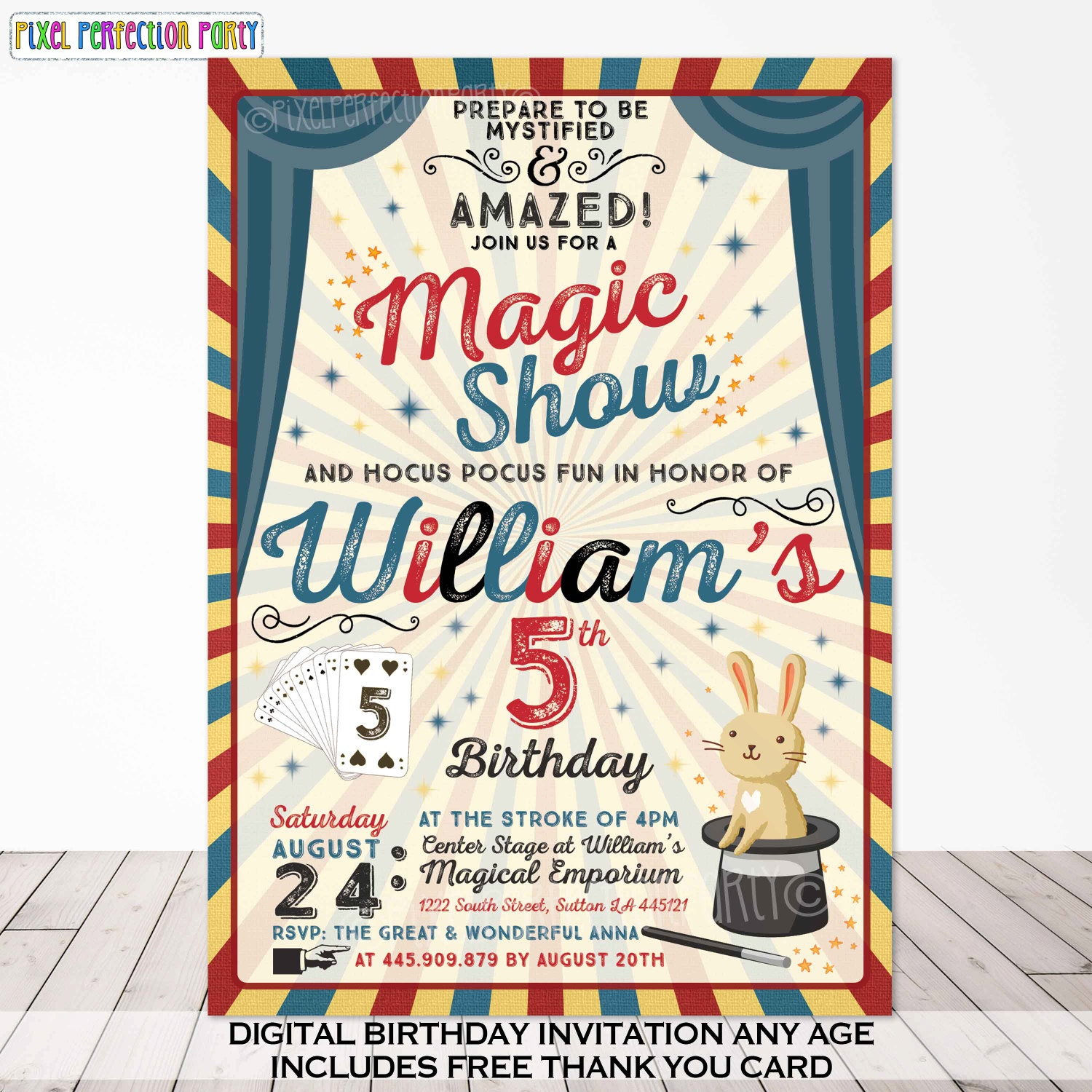Magic Party Invitation Magic Birthday Invitation Magician