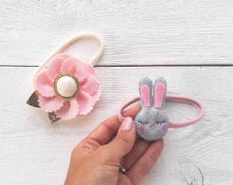 Set of 2 Lovely felt flowers and tiny rabbit newborn headbands, handmade felt flower baby accessories for photography, little felt rabbit