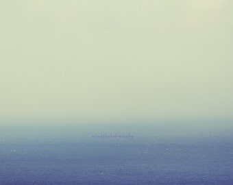 Blue and White - Misty Blue in the ocean Misty Romantic ocean decoration seascape just blue abstract Fine Art Print 20x30 Limited 5/50