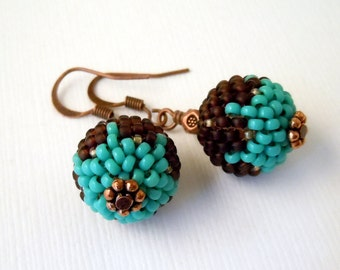 Turquoise, Brown, Beaded Beads, Peyote, Seed Bead Earrings, Beaded Earrings, Casual, Fun, Dangle,