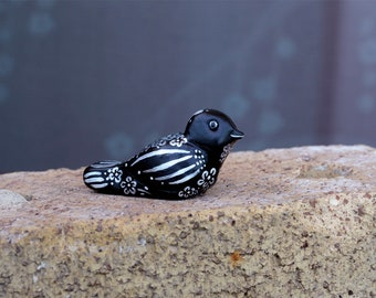 Black and White Primitive Bird Figurine, Polymer Clay Hand Painted Folk Art Small Flowered and Striped Song Bird Sculpture, Artisan Bird