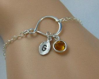 Infinity bracelet, initial bracelet, personalized jewelry, charm bracelet, grandmother gift, birthstone bracelet, gift for mom, gift for her