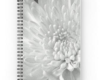 White Flower Notebook, Floral Notebook, Diary for Her, Garden Journal, White Floral Print Spiral Notebook, Gift for Gardener, Flower Print