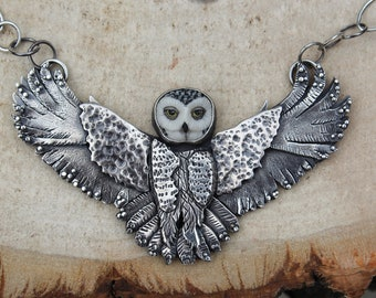 Owl Necklace / Owl Pendant / Owl Jewelry / Laura Mears Owl / Laura Mears / Owl Statement Piece / Rainforest Jasper / Moon Necklace