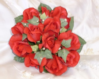 Beautiful Red Rose & Ivy Bouquet with matching Boutonniere