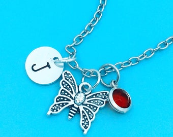 Beautiful butterfly necklace, butterfly charm necklace, personalized necklace, custom charm pendant, initial necklace, butterfly pendant,
