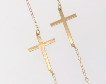Sideways Cross Necklace, Hammered or Smooth, 14K Gold Filled, Sterling Silver, or Rose Gold Filled, Small And Sleek as Seen on Kelly Ripa