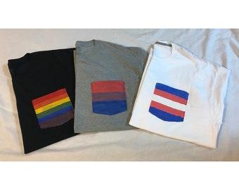 CUSTOM *Gray* LGBT Pride Pocket Shirt