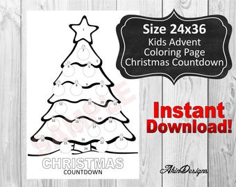 Kids Advent Coloring Calendar, 24x36 , Countdown, Instant Download, Printable