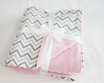 Reversible Grey and Pink Chevron Flannel Baby Blanket - double thickness blanket