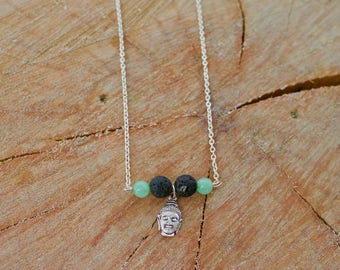 Buddah lava stone diffuser necklace