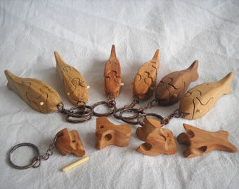 Wooden Fish Puzzle Keychain