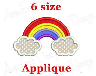 Rainbow Applique Embroidery Design.  Machine Embroidery Design. Rainbow and Clouds Embroidery Design. Mini Rainbow Embroidery Design.