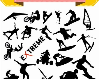 Extreme Sport Ski Snowboard Bike Climber Motobike Skateboard Trick Silhouette Vector Clipart PNG EPS Files Scrapbook Supplies Instant