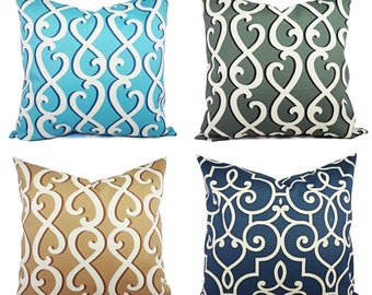 One Outdoor Pillow Covers - Custom Size - Blue Navy Camel Grey Pillow - Patio Pillow - Couch Pillow Cushion Cover Accent Pillow