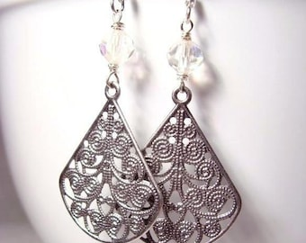 Clear Austrian Crystal Earrings with Filigree Suspended Adornment
