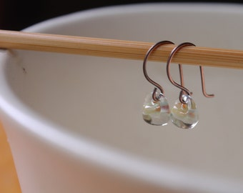 Water Droplet Earrings - Borosilicate Glass Teardrops on Antique Copper Wires in Clear Almond