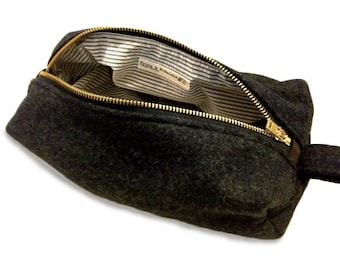 READY TO SHIP: Medium Dopp Kit - Charcoal Military Blanket
