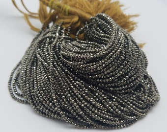 2mm Natural Pyrite Micro Faceted Beads, 13 inch