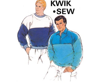 Kwik Sew 1674 Mens Sweatshirts Stretch Pullover Shirts 80s Vintage Sewing Pattern Sizes XS - XL UNCUT Factory Folded