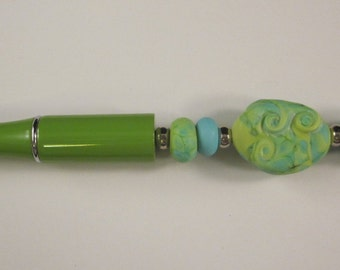Turquoise and Lime Lampwork, Beaded, Ballpoint Pen, Artisan Crafted, One of a Kind, SRAJD, Hand Crafted Glass, OOAK, Lime Green Pen