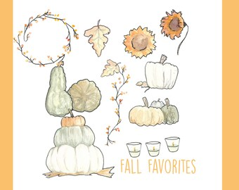 Hand Painted Water Color Clip Art - Fall Favorites - Pumpkins, Halloween, Decorations, Candles, Berries, Leaves - Clipart Watercolor