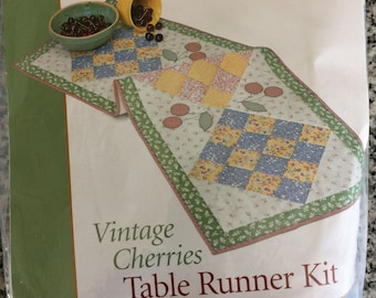 KIT - RARE Sewing with Nancy Vintage Cherries Table Runner - Complete kit