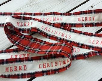 Custom tartan ribbon. Merry Christmas ribbon, christmas ribbon, Christmas gift wrap ribbon, custom ribbon