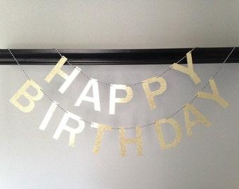 Happy Birthday Banner, Birthday Banner, First Birthday Banner, Party Banner, Birthday Decoration, Gold Birthday Banner