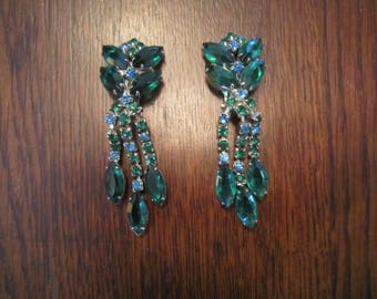 Emerald Green Earrings and Silver Tone