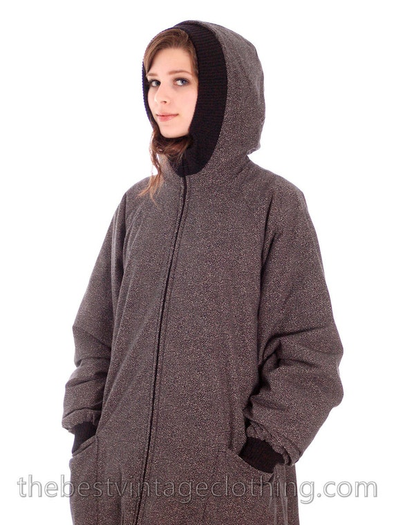 Black Maxi Vintage 1970s Leena Gray Reserved Hooded Vuokko Coat Cotton Design L for Speckle vq6pvc4U