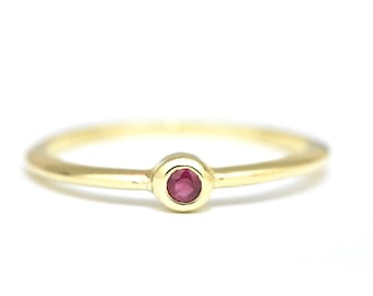 Solid Gold Ruby Ring, Solitaire Gold Ring, Red Ruby Solitaire Ring, Gemstone 14k Gold Ring, July Birthstone Ring, Anniversary Jewelry Gift