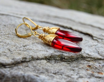 Valentines Day Jewelry, Ruby Red Dangle Earrings, Wire wrapped earrings, Gift For Girlfriend, Gift For Wife, Girlfriend Gift, Gift For Her