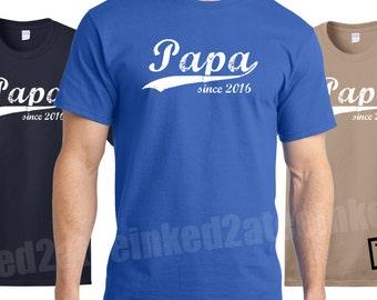 Papa since any year Mens Tshirt custom his funny humor grandpop grandfather gift