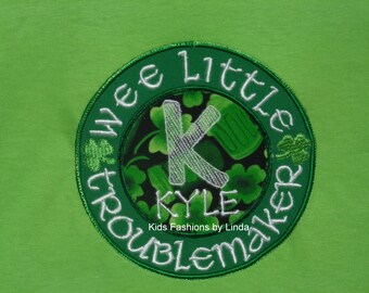 Personalized St Patrick Day Wee Little Troublemaker Shirt