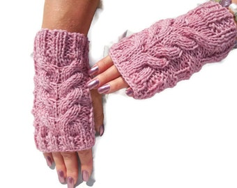 Raspberry Knit GLoves, Pink Wool Mittens, Cable Warm Fingerless