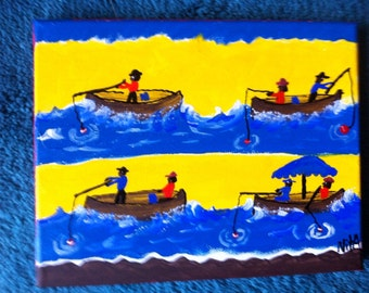 4 Fishing BOATS primitive folk art by NitA reduced price!