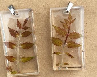 Real leaf pendants
