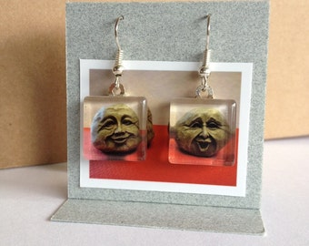 Glass Tile Photo Earrings - Two Rocks