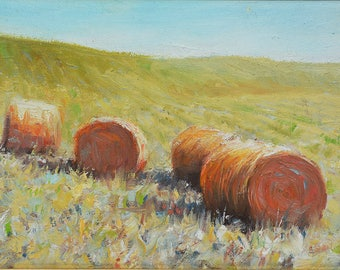 Tuscany countryside Hay bales, Tuscany, Italy, Landscape oil painting , Impressionist style