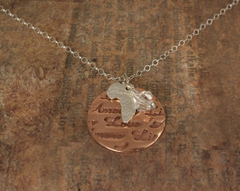 Africa Necklace - Adoption sterling silver copper africa shape pendant
