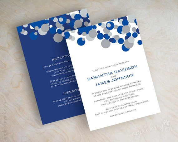 Cobalt Blue Wedding Invitations: Items Similar To Blue And Silver Polka Dot Wedding