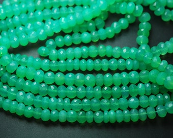 15 Inch Strands,Chrysoprase Chalcedony Faceted Rondelles Shape Beads,7-7.5mm Size,