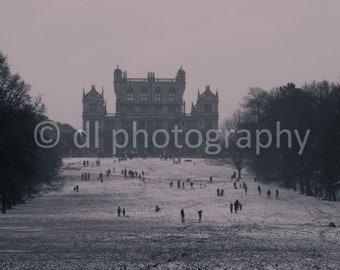 Wollaton Hall in the Snow Vintage Effect