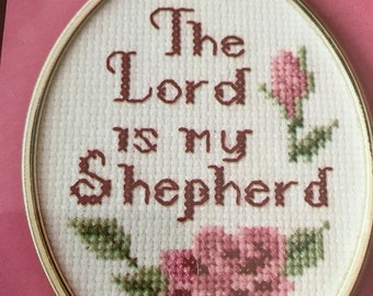 APRILSALE Wonderart The Lord is my Shepherd counted cross stitch kit with frame