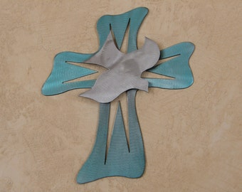 Metal wall cross with dove