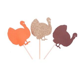 Thanksgiving Turkey Cupcake Topper - Thanksgiving Cupcake Topper - Gold Turkey Cupcake Topper - Thanksgiving Table Decor - Orange Turkey